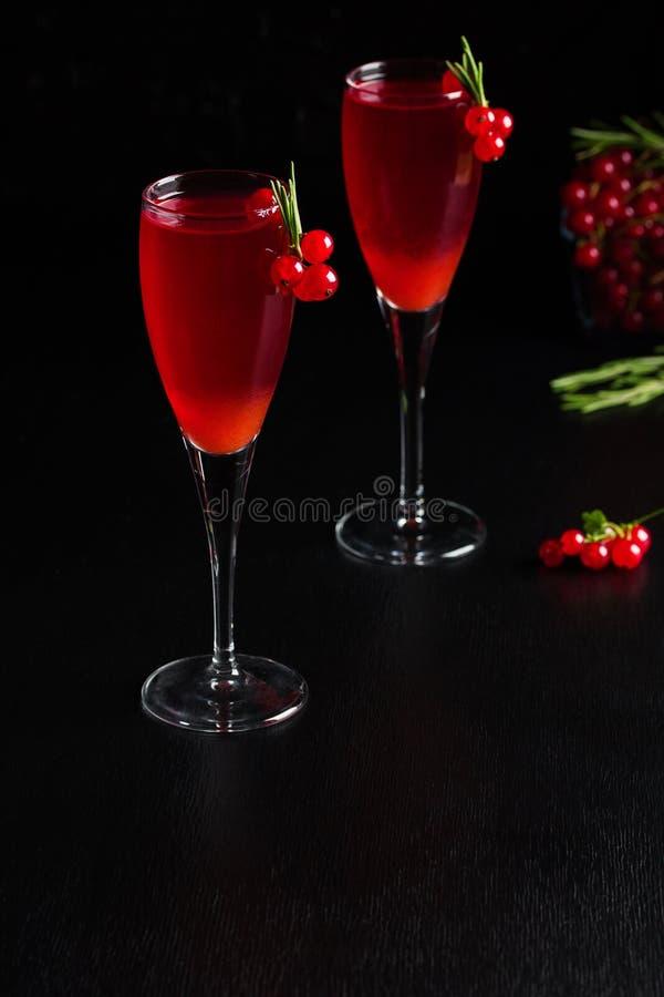 Två exponeringsglas fruktsaft för redcurrantvindrink dekorerade med rosmarin royaltyfria foton