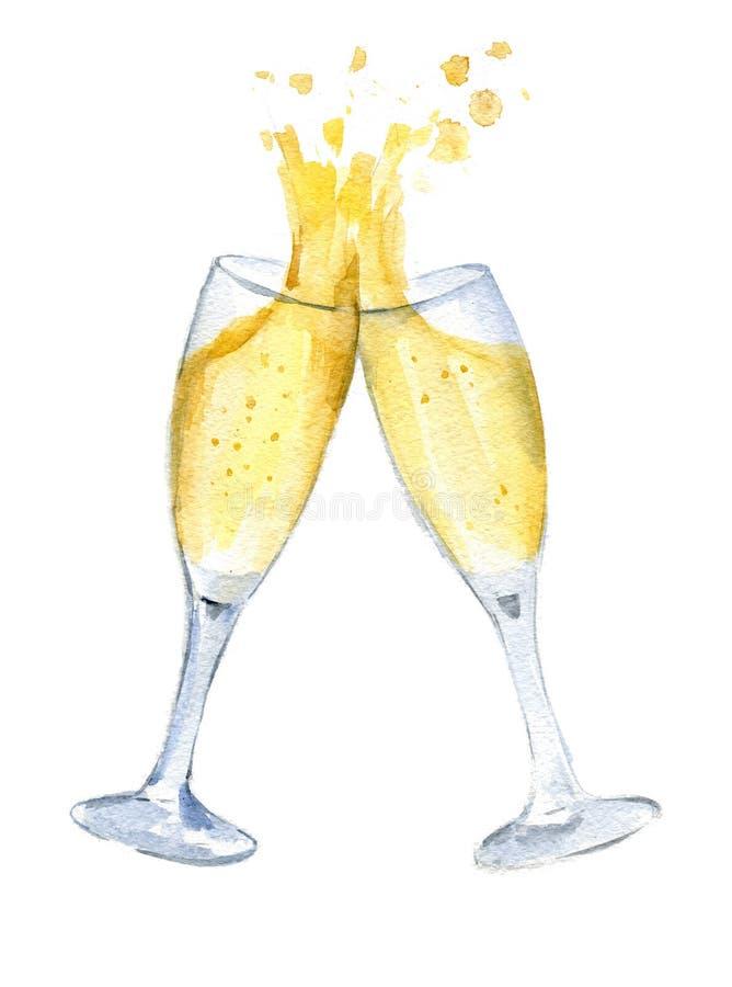 Två exponeringsglas med champagne klirrar exponeringsglas med en färgstänk nytt år vattenfärg isolerat arkivfoton