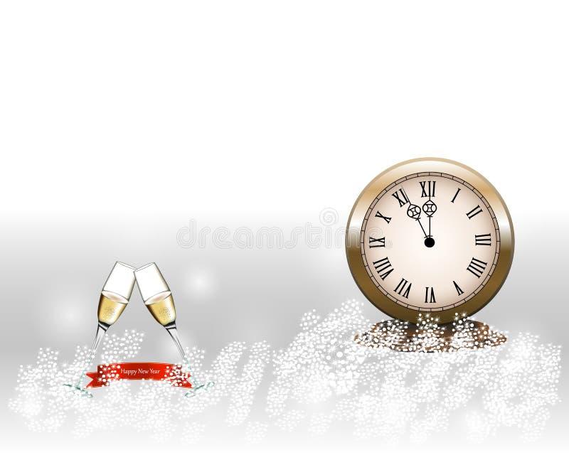 Två exponeringsglas med champagne med klockan och på grå bakgrund nytt teckenår royaltyfri illustrationer