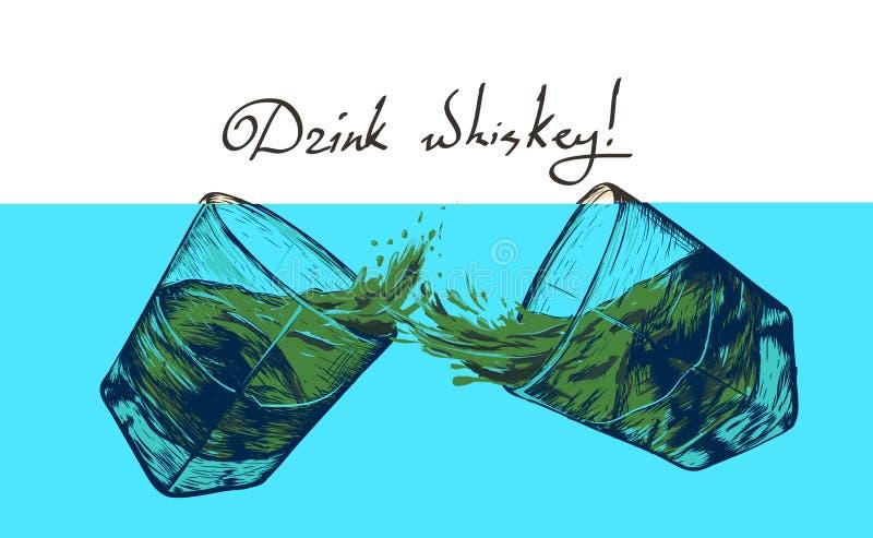 Två exponeringsglas med whisky vektor illustrationer