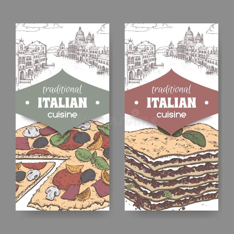 Två färgbaner med det Venedig landskapet, pizza och lasagner på vit stock illustrationer