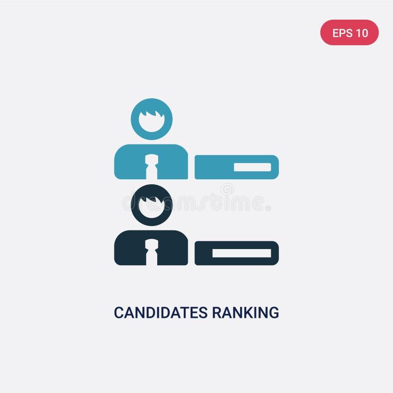 Två färgkandidater som rangordnar den grafiska vektorsymbolen från politiskt begrepp isolerade blåa kandidater som rangordnar det stock illustrationer