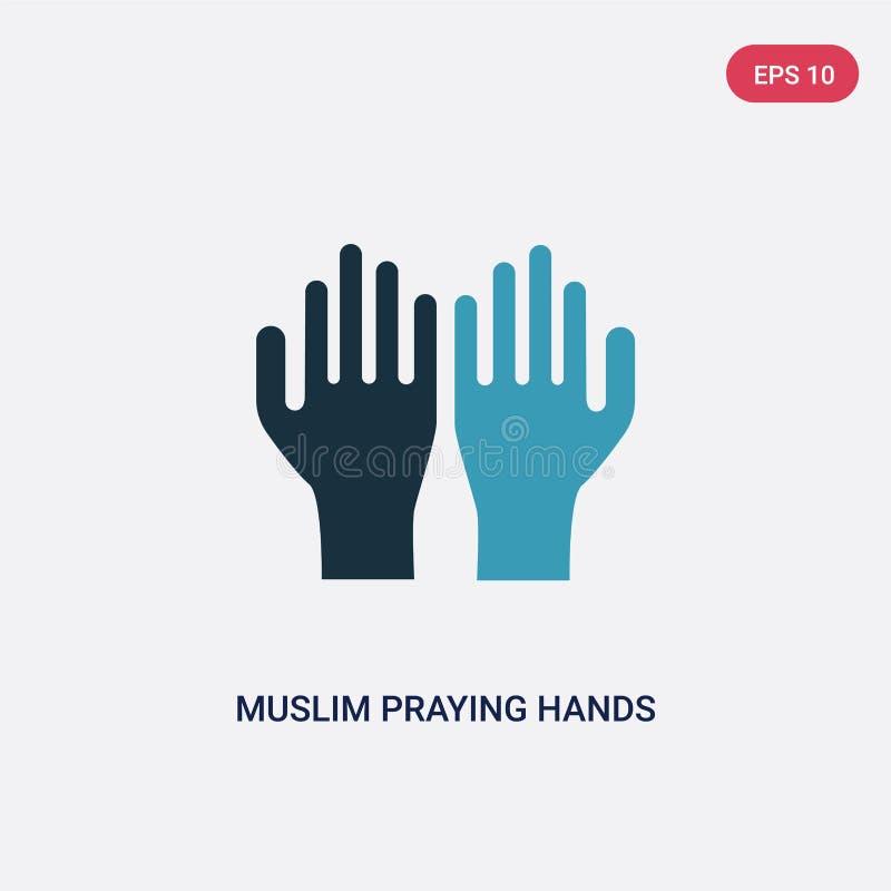 Två färgmuslim som ber handvektorsymbolen från begreppet religion-2 isolerade blåa muslim som ber symbol för handvektortecken, ka royaltyfri illustrationer