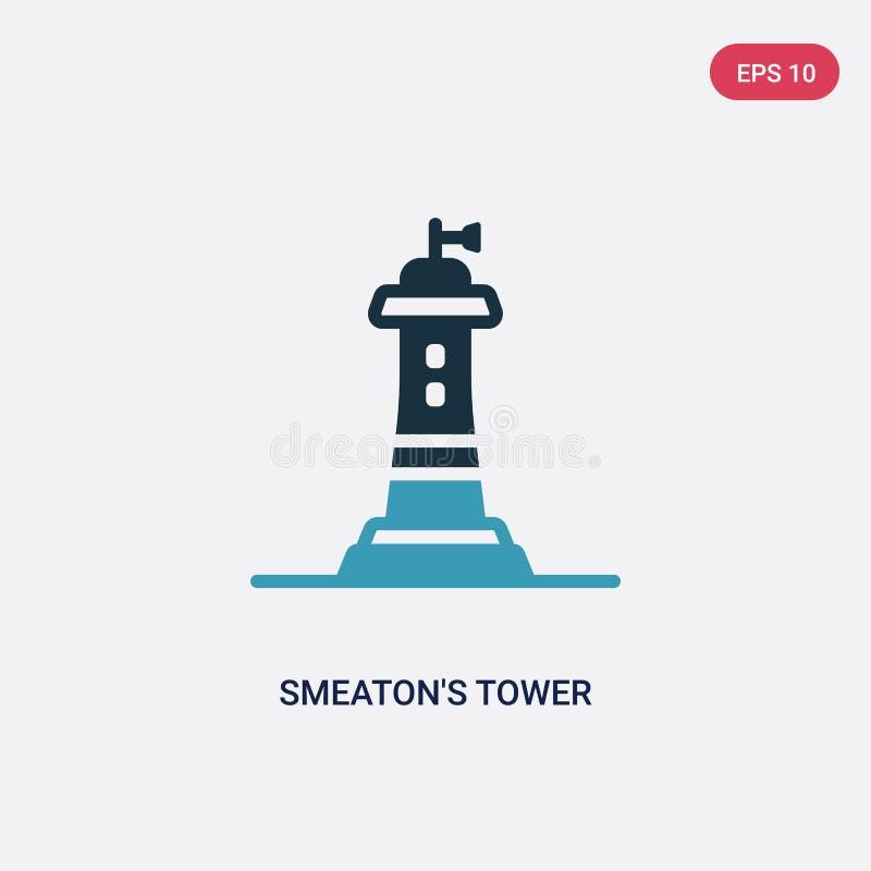Två färgsmeatons symbol för vektor för torn från annat begrepp isolerade blåttsmeatons symbolet för tecknet för vektorn för torn  royaltyfri illustrationer