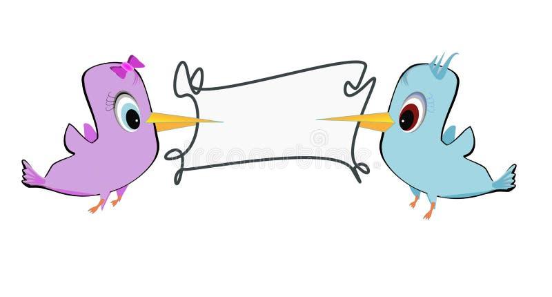 Download Två fåglar och ram vektor illustrationer. Illustration av komiker - 27276787