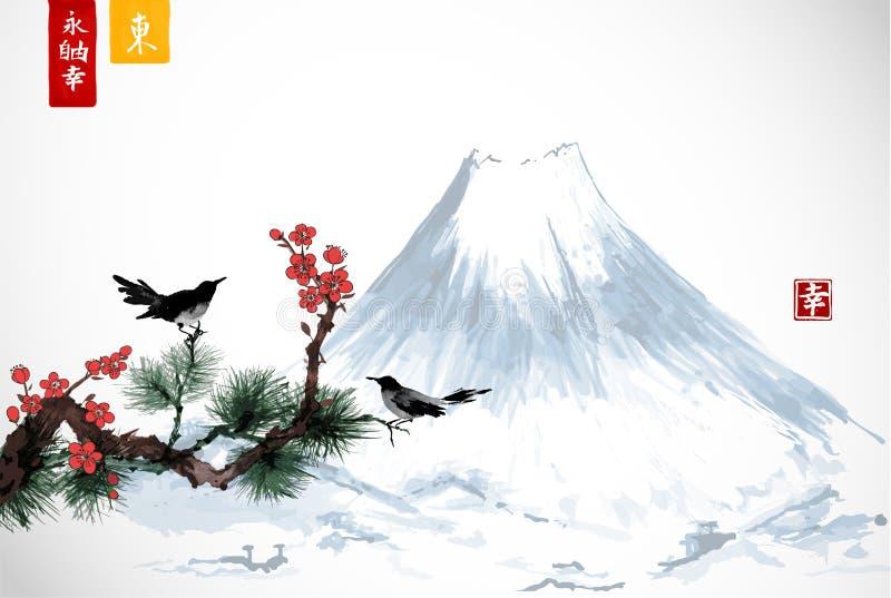 Två fåglar på sakura och sörjer trädfilialen och det Fujyama berget Traditionell japansk färgpulvermålningsumi-e innehåller royaltyfri illustrationer