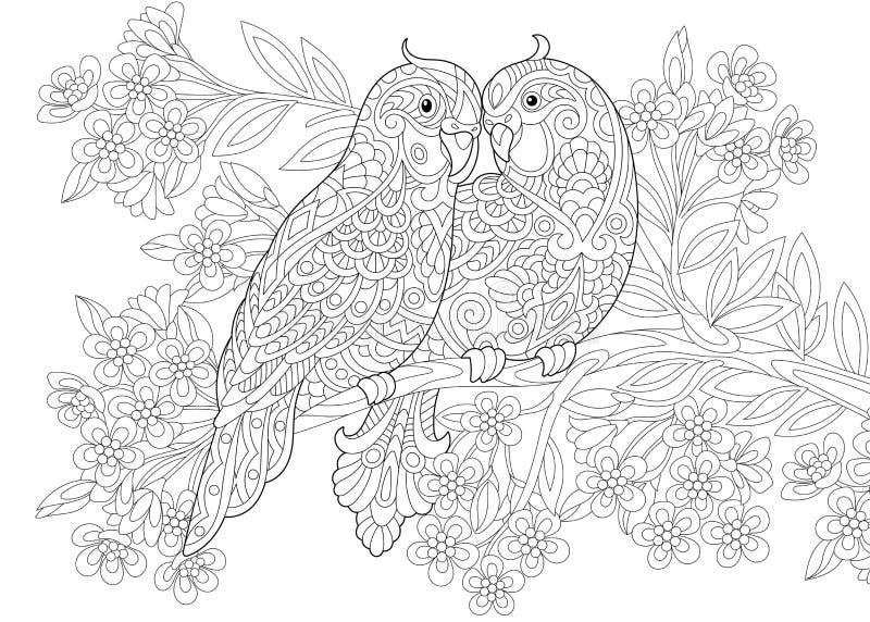 Två förälskade budgiepapegojor vektor illustrationer