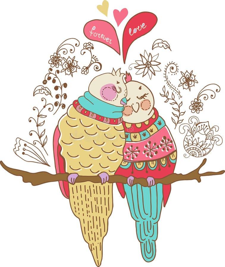Två förälskade gulliga fåglar, färgrik illustration stock illustrationer
