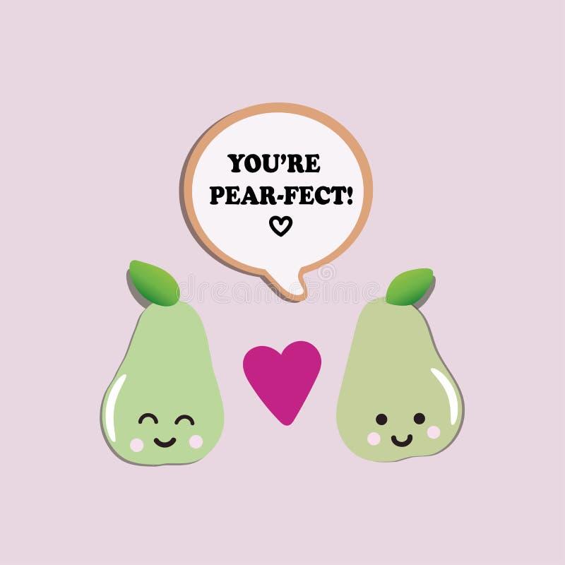 Två förälskade gulliga gröna päron royaltyfri illustrationer