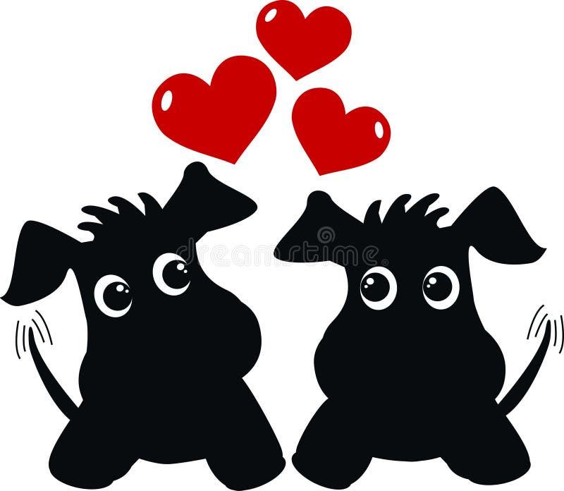 Två förälskade gulliga hundar vektor illustrationer