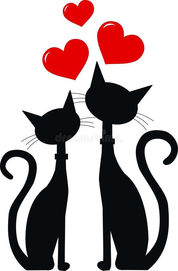 Två förälskade svarta katter royaltyfri illustrationer