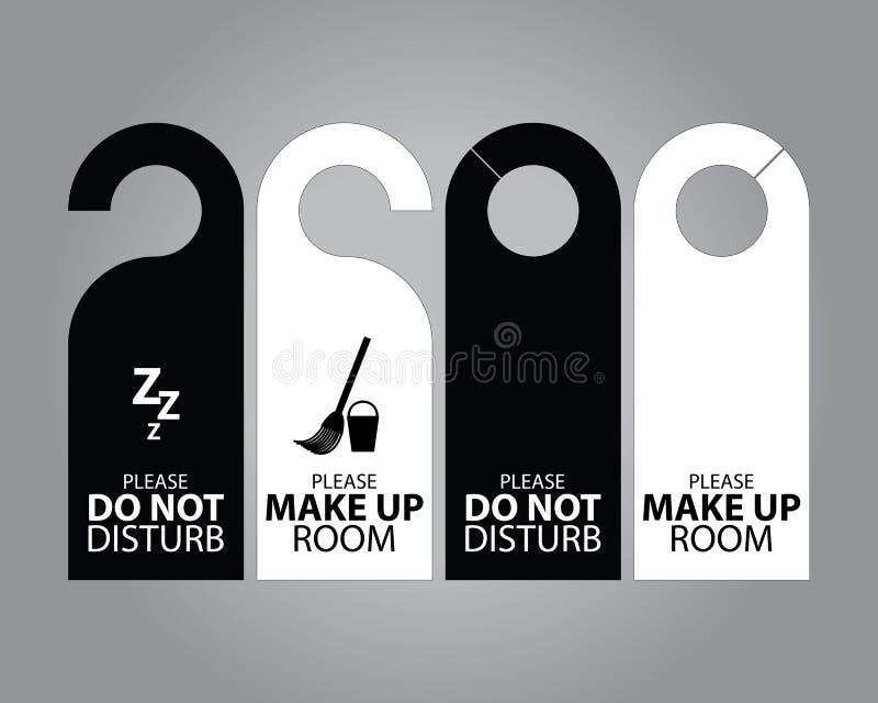 Två för dörrhängare för sida svartvita etiketter för rum i hotell eller semesterort vektor illustrationer