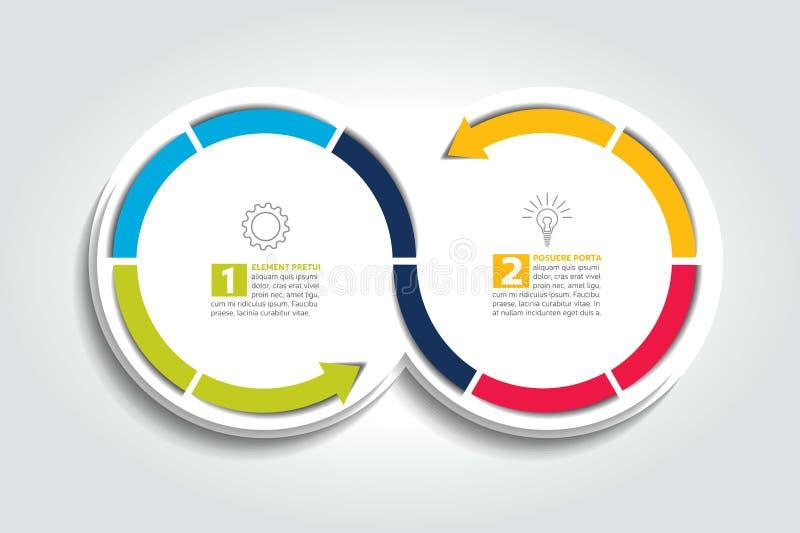 Två förbindelsepilcirklar Infographic beståndsdel royaltyfri illustrationer