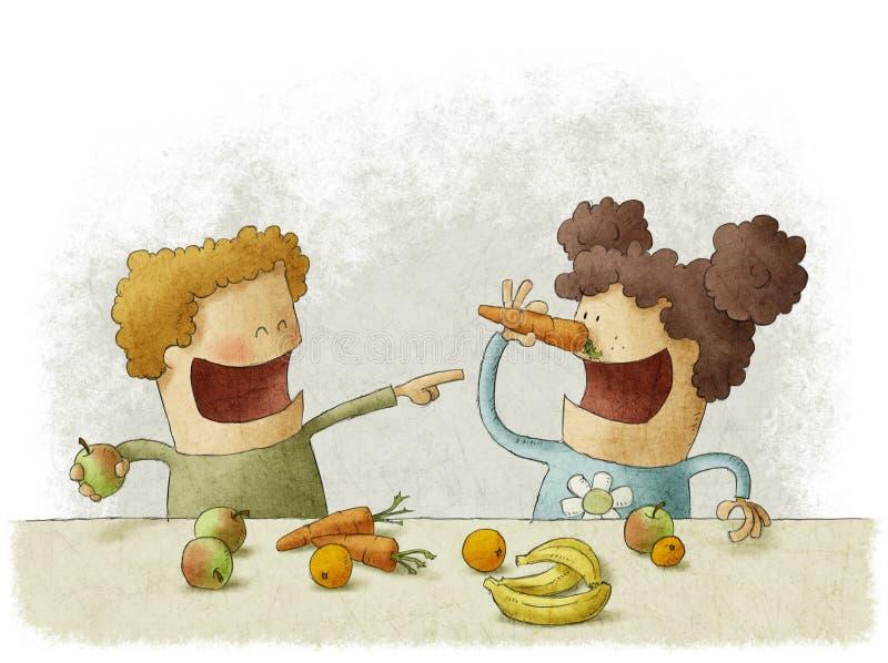 Två förskolebarn som har avbrottet för frukter stock illustrationer