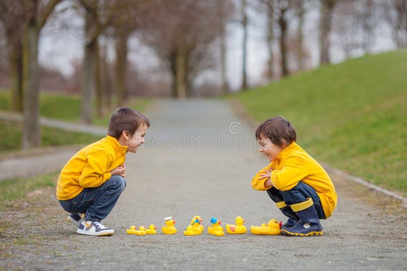 Två förtjusande barn, pojkebröder som in spelar, parkerar med gummi royaltyfri foto