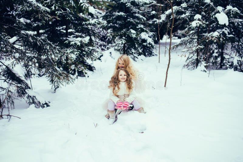 Två förtjusande små flickor som har gyckel tillsammans arkivfoto