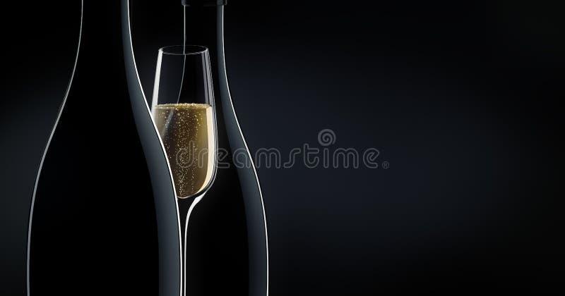Två flaskor av champagne med ett exponeringsglas stock illustrationer