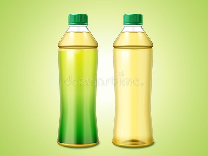 Två flaskor av grönt te stock illustrationer