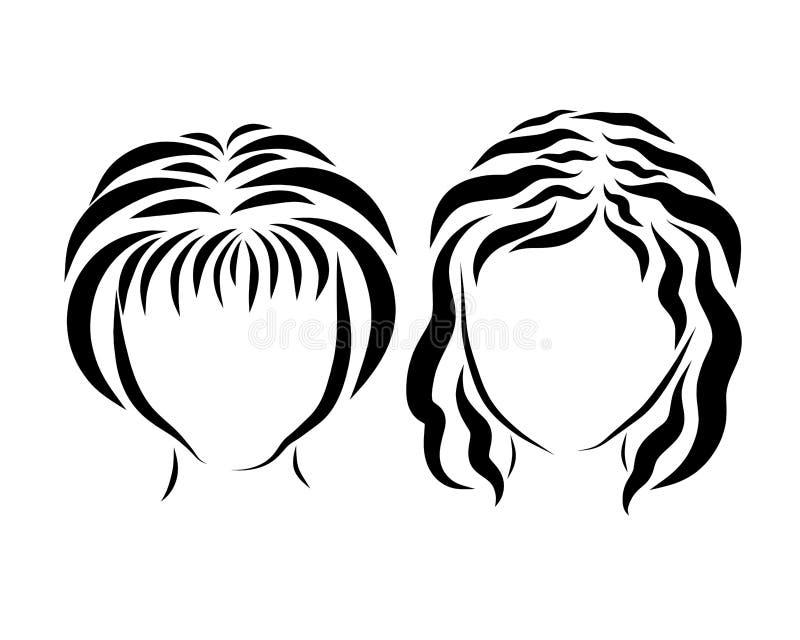 Två flickor, en skissa av flödande linjer, ett huvud royaltyfri illustrationer