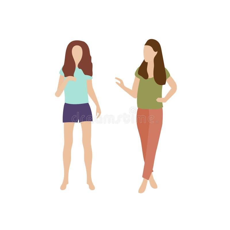 Två flickor går och talar Unga kvinnor, i att prata för sommarkläder Konversation av att gå för två personer folksamtal stock illustrationer