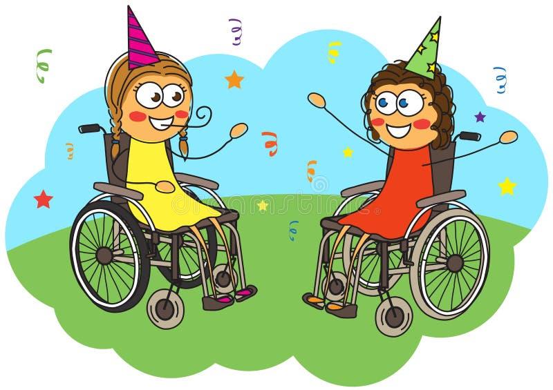 Två flickor i en rullstol firar deras födelsedag stock illustrationer