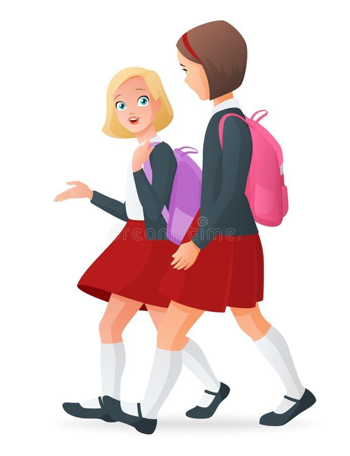 Två flickor i likformig som talar och går till skolan royaltyfri illustrationer