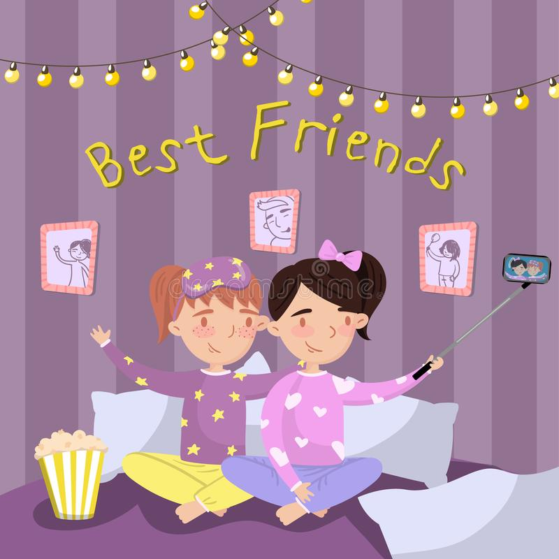 Två flickor i pyjamas som gör selfie, medan sitta på sängen, ungar i pyjamas på slummerpartiet Bästa vänvektor royaltyfri illustrationer