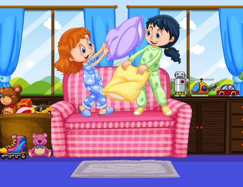 Två flickor i pyjamas som spelar kuddekamp i rum stock illustrationer