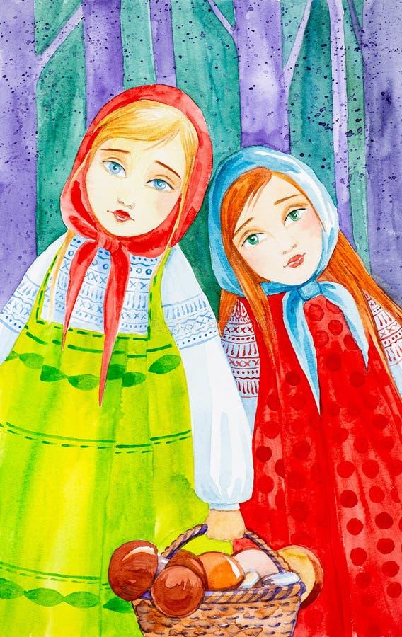 Två flickor med en korg i deras händer i ryska folk för kläder champinjoner mot efterkrav i den lösa skogvattenfärgillustrationen royaltyfria foton