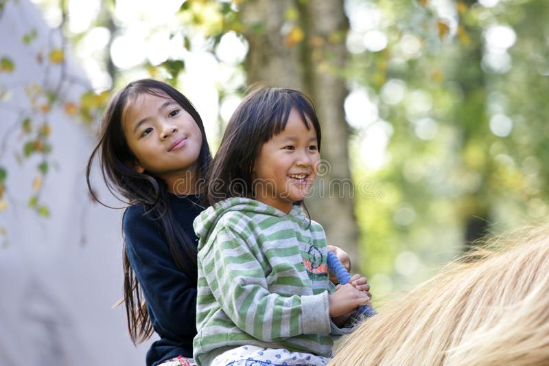 Två flickor med hästen arkivfoton