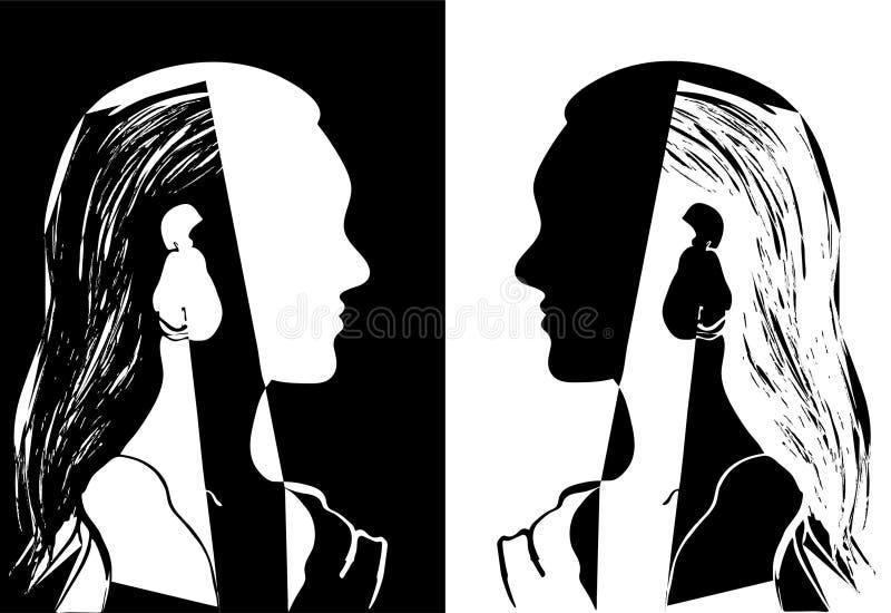 Två flickor med långt hår som ser de Svartvit vektorillustration Kontur av kvinnahuvudet vektor illustrationer