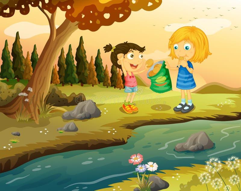 Två flickor som äter junkfoods på flodstranden stock illustrationer