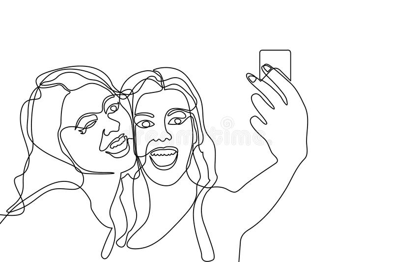 Två flickor som gör selfie royaltyfri illustrationer