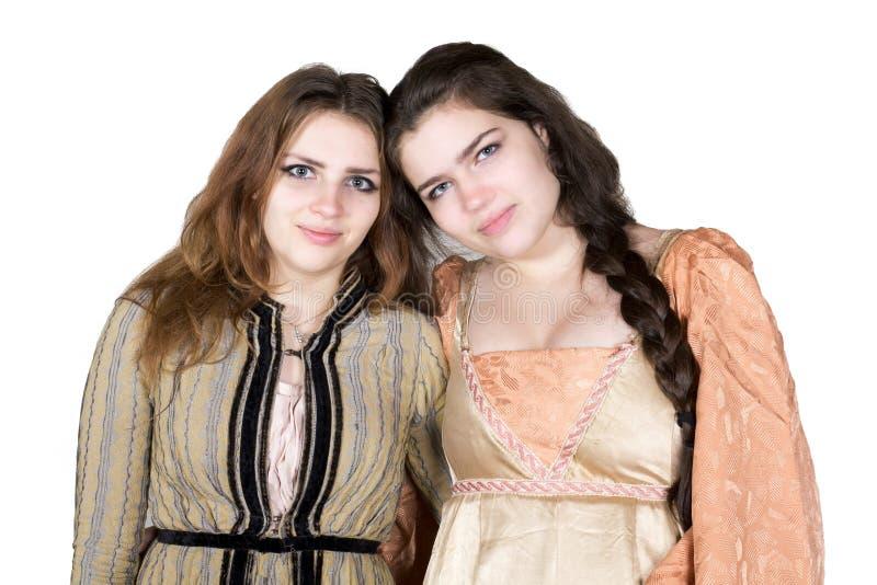 Två flickor som kläs som prinsessa royaltyfri bild