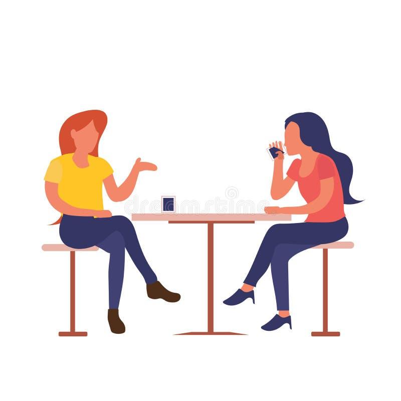 Två flickor som sitter på kafédrinkkaffe, medan tala den isolerade plana designen stock illustrationer