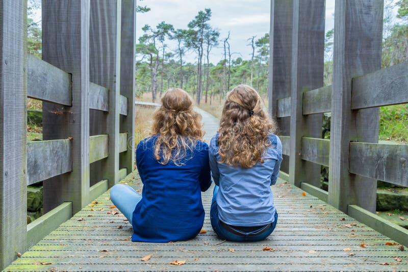 Två flickor som sitter på träbron i natur fotografering för bildbyråer