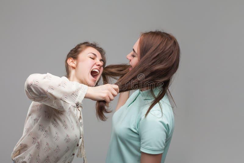 Två flickor som slåss, kvinnor grälar arkivfoto