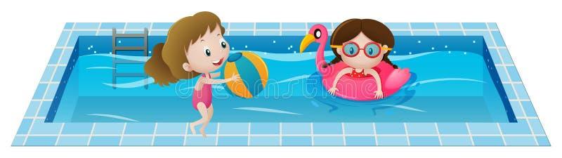 Två flickor som spelar i simbassängen royaltyfri illustrationer