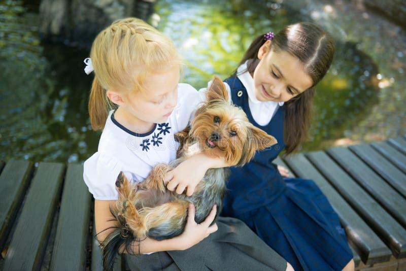 Två flickor som spelar med en hund royaltyfri fotografi