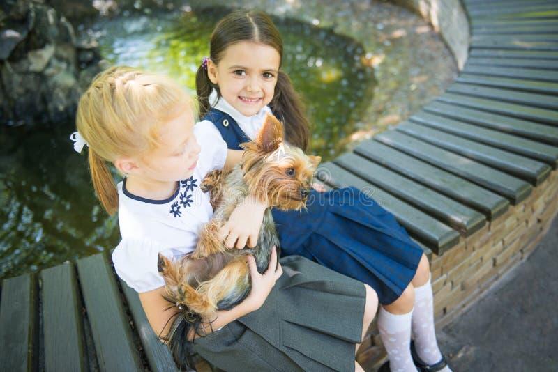 Två flickor som spelar med en hund arkivfoto