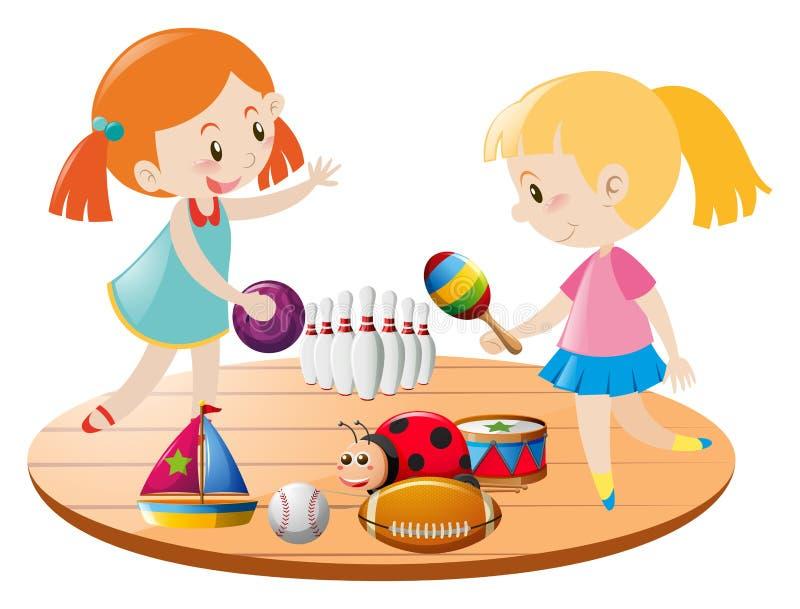 Två flickor som spelar med leksaker royaltyfri illustrationer