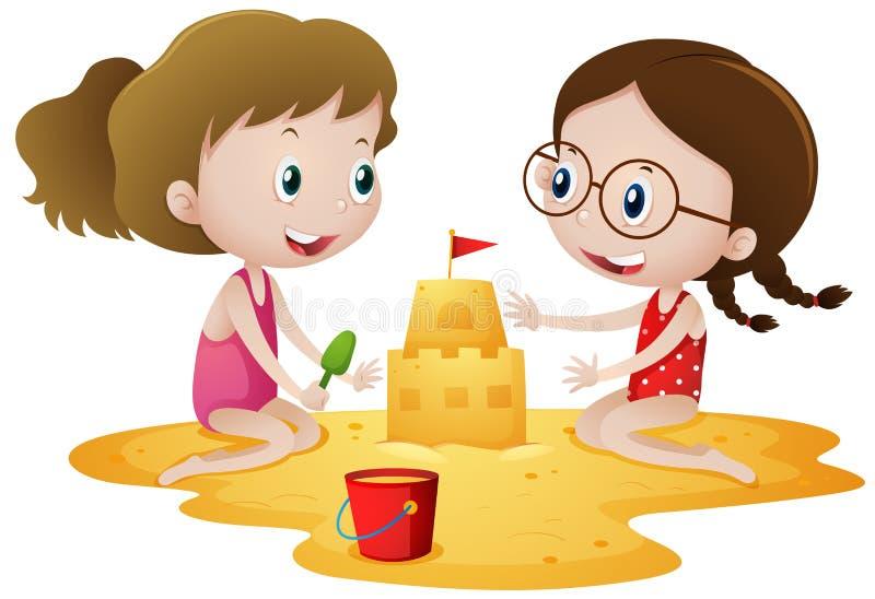 Två flickor som spelar sandslotten på stranden stock illustrationer