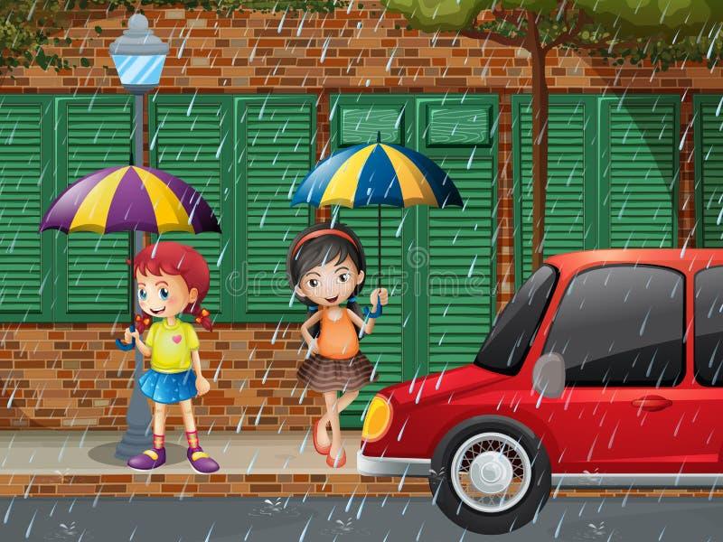 Två flickor som står på trottoar i regnet vektor illustrationer