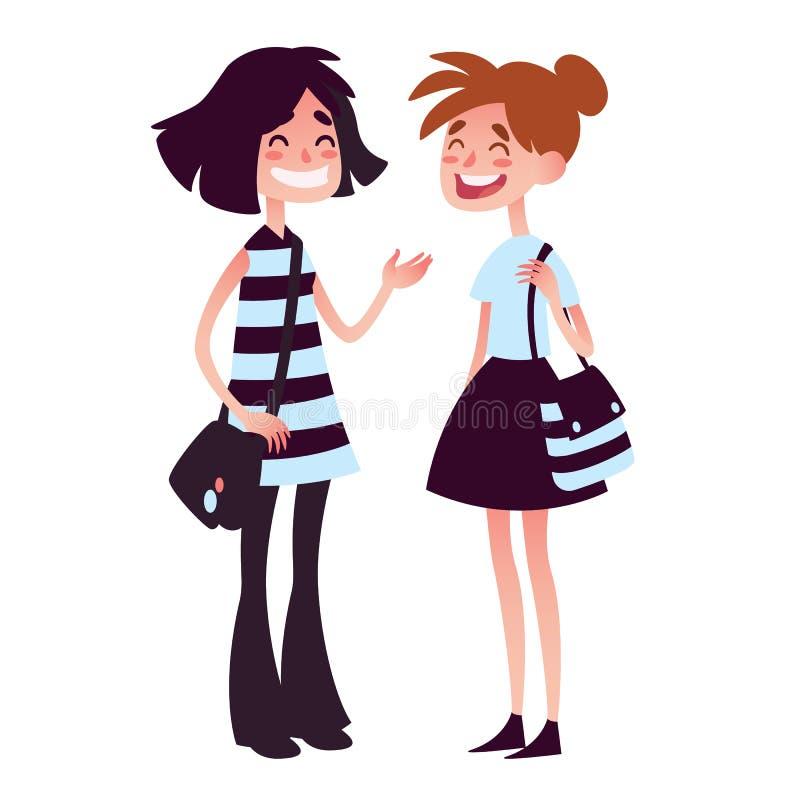 Två flickor som talar och skrattar royaltyfri illustrationer