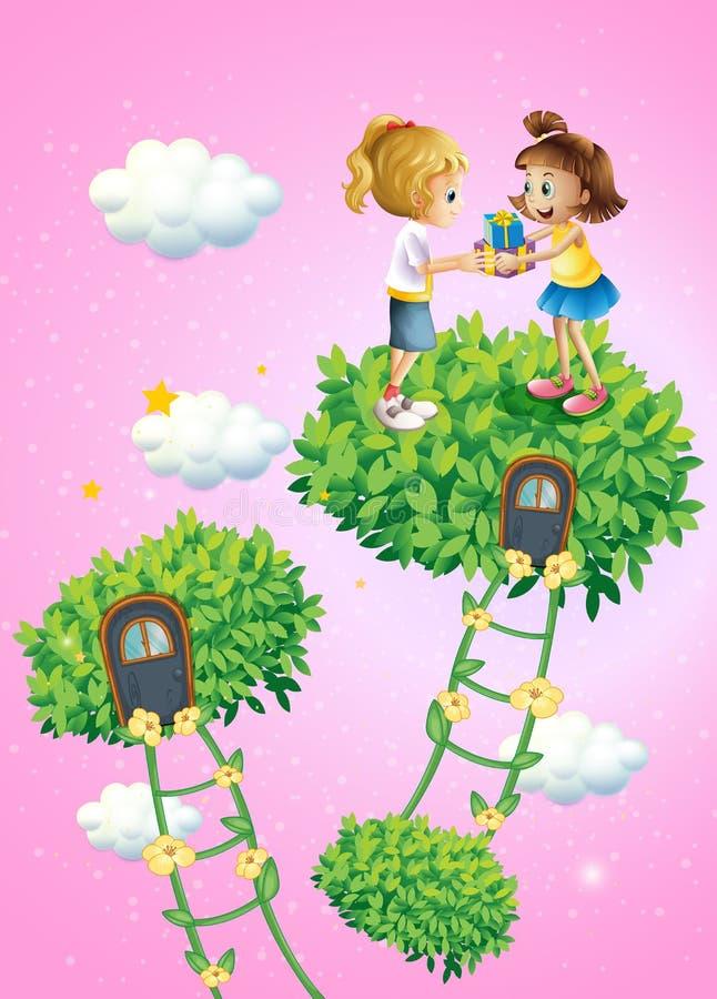 Två flickor som utbyter gåvor royaltyfri illustrationer