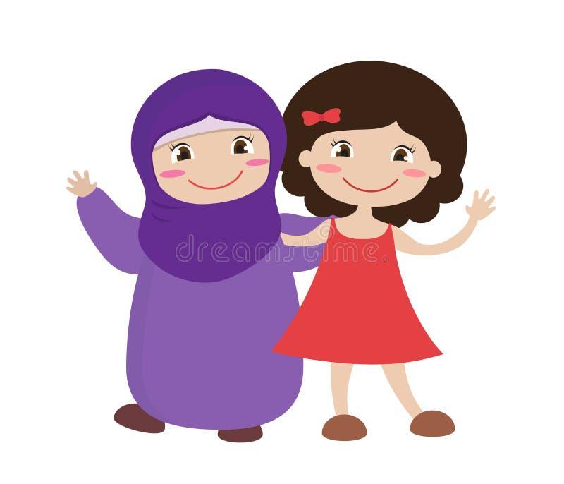 Två flickor tillsammans på en vit bakgrund vektor royaltyfri illustrationer