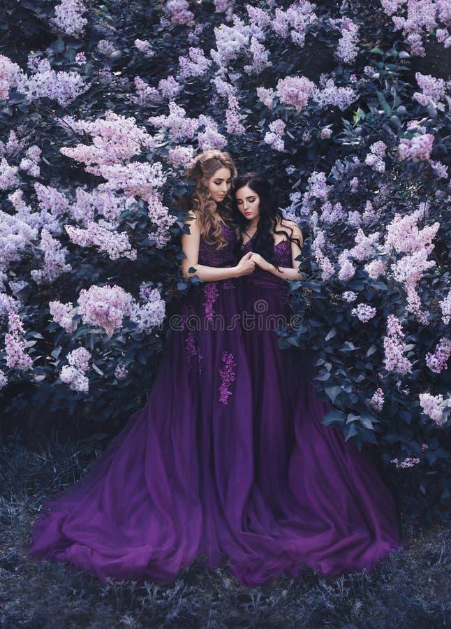 Två flickvänner, en blondin och en brunett, med förälskelse som kramar sig Bakgrund av en härlig blommande lilaträdgård Princen royaltyfri foto
