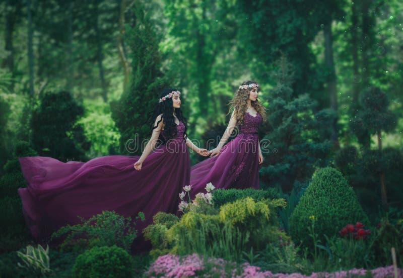 Två flickvänner, en blondin och en brunett, rymmer händer Bakgrundsblomningträdgård Prinsessor är iklädd lyxig purp royaltyfri fotografi
