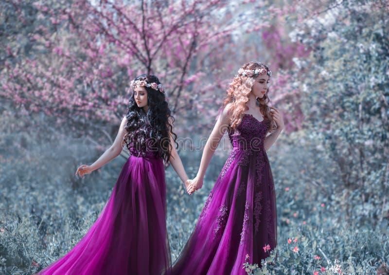 Två flickvänner, en blondin och en brunett, rymmer händer Härlig blomningträdgård för bakgrund Prinsessorna är iklädda royaltyfria foton