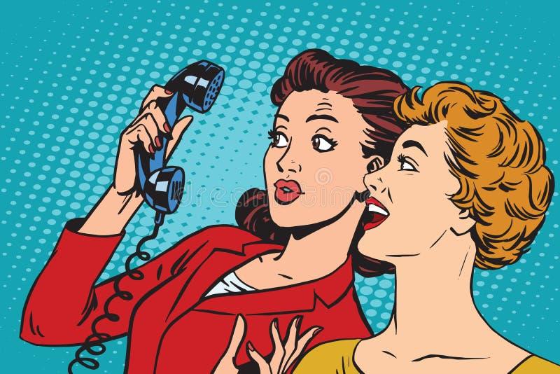 Två flickvänner och en telefon vektor illustrationer